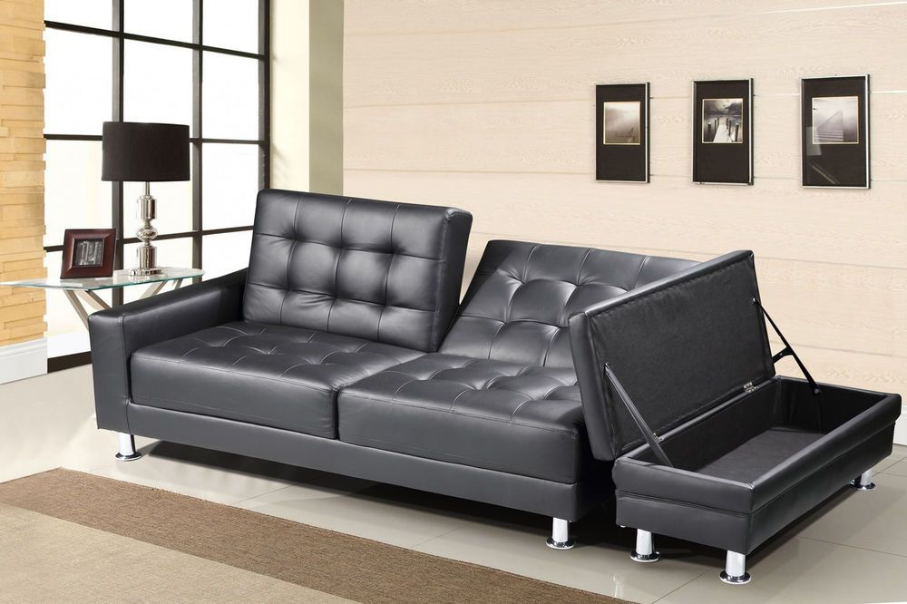 Details about Modern Black Faux Leather 3 Seater Sofa Bed ...