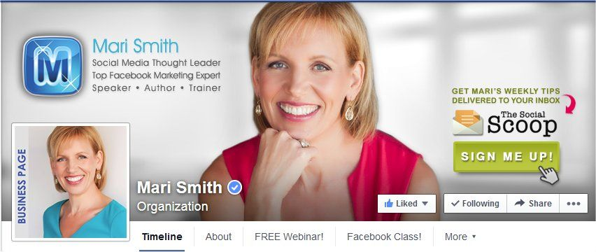 Mari Smith Cover Photo on Facebook by Custom Page Designs. For more information contact Jackie@customfanpagedesigns.com