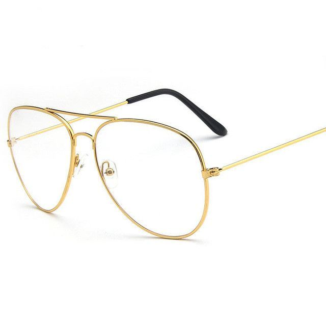 c67656eadc Classic Gold Frame Clear Glasses Myopia Clear Frame Glasses Women Men  Spectacle Frame Optical Aviation Glass Lunette Y34