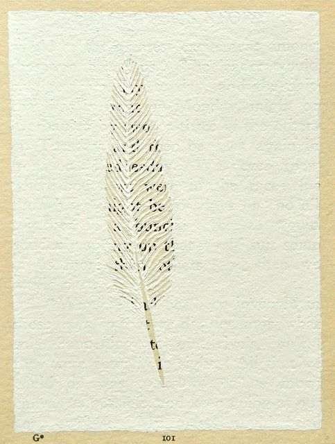 altered book page ~ feather by flypeterfly, via Flickr