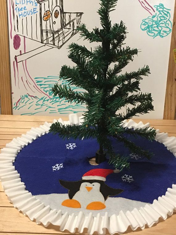Tree skirt, christmas tree skirt, penguin tree skirt, blue ...