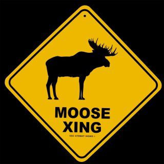 Metal Moose Log Cabin Lodge Decor Street Sign Has 1 Predrilled Hole For  Easy Hanging On Your Wall.