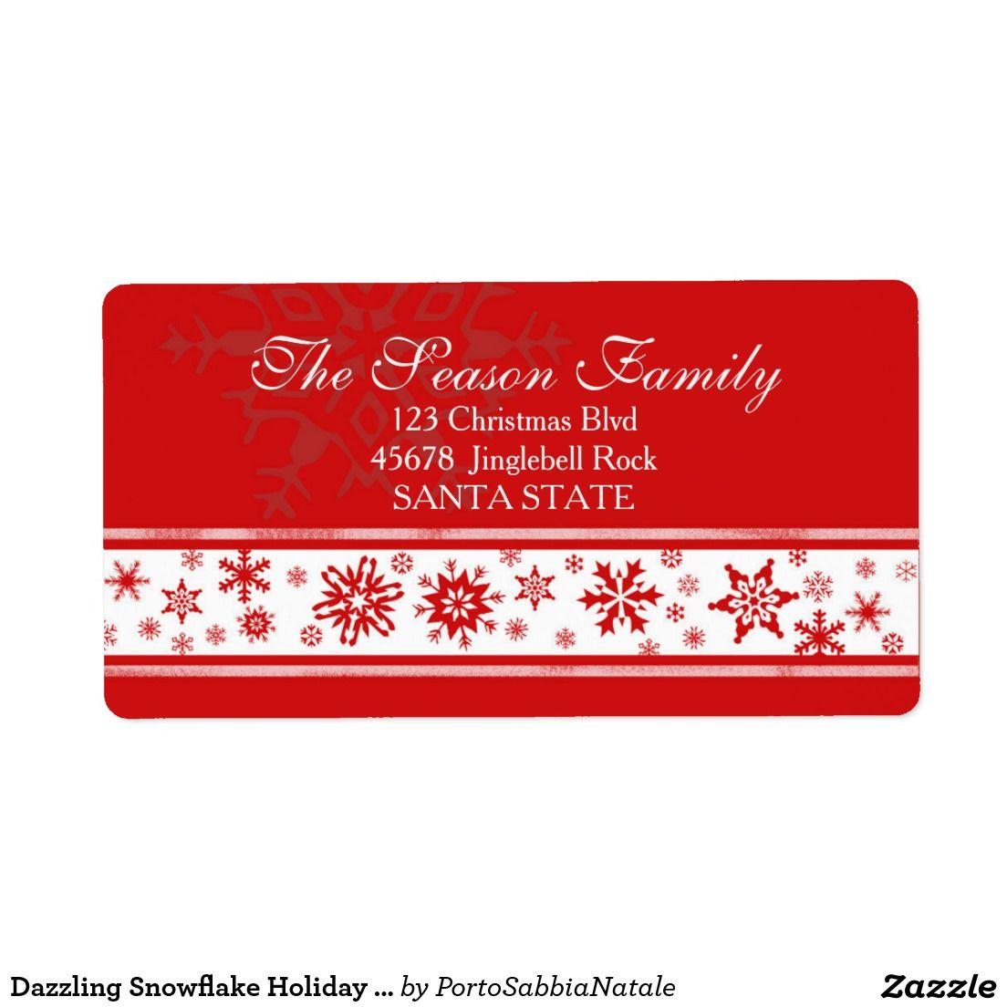 Dazzling Snowflake Holiday Address Label