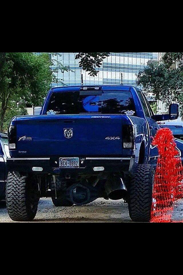 blue dodge cummins with big exhaust tip