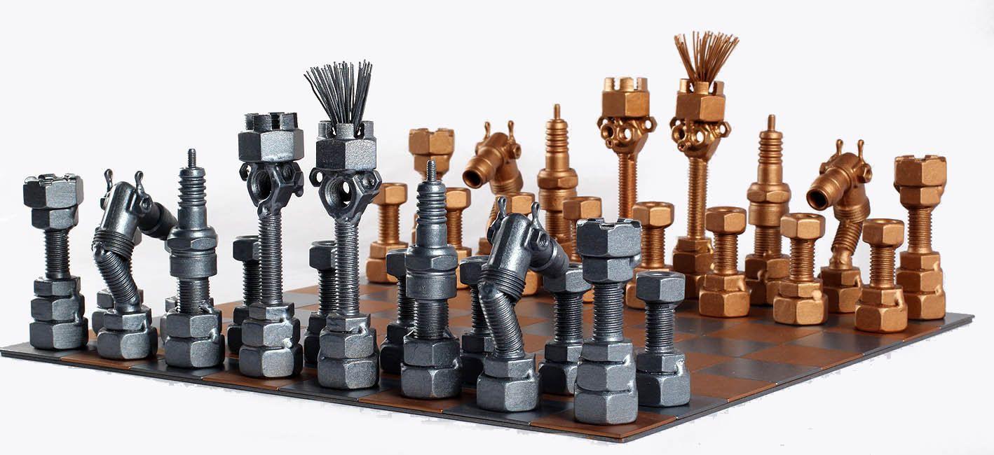 projects ideas metal chess pieces. Chess Set  Metaldiorama Metal Art by MetalDioramaWoodArt on Etsy