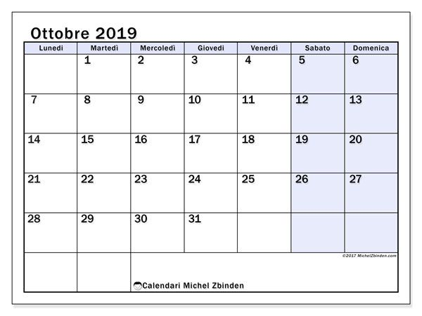 Calendario ottobre 2019 (57LD) Calendars  Planners Pinterest