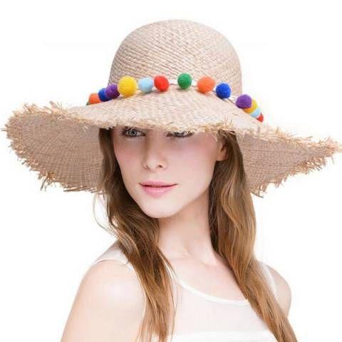 6d1f8b349 Raw edge straw hat with pom poms for women beach wide brim sun hats ...