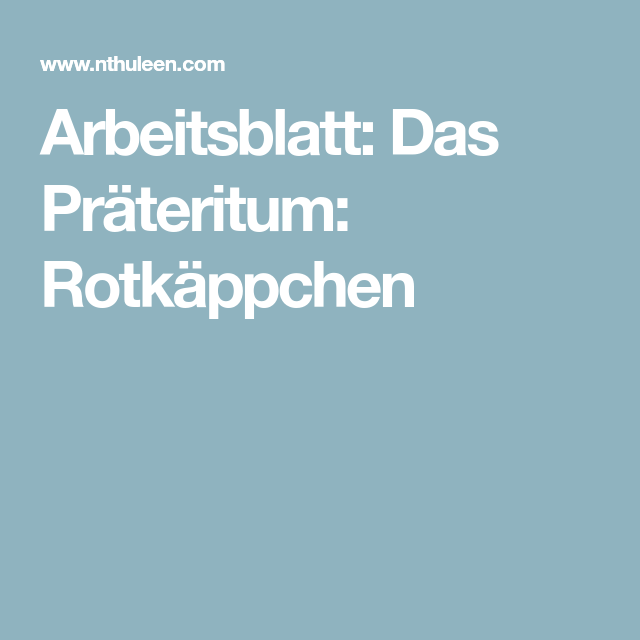 Old Fashioned Regelmäßige Verben Imperfekt Arbeitsblatt Gallery ...