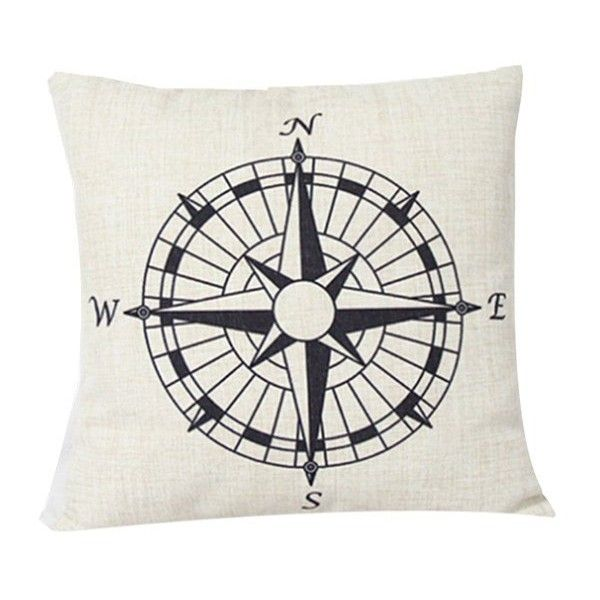Compass Pattern Sofa Cushion Linen Pillow Case 4 95 Liked On Polyvore Featuring Home Home Decor Thr Linen Pillow Covers Linen Throw Pillow Linen Pillows