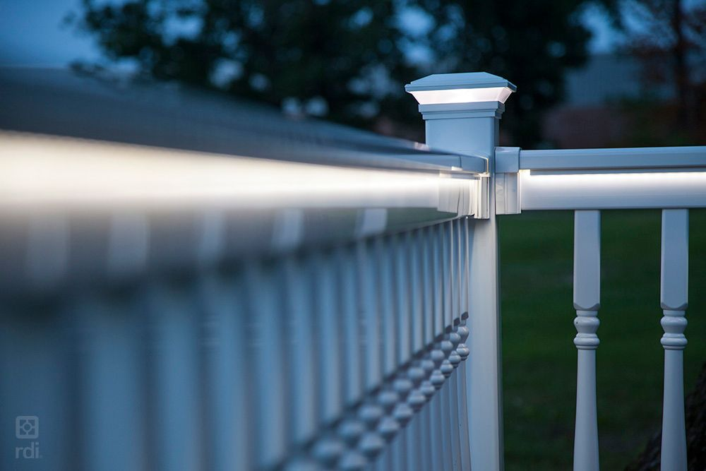 Finyl Line Vinyl Railing In White With Turned Balusters And Led Lighting Deck Lighting Low Voltage Lighting Vinyl Railing