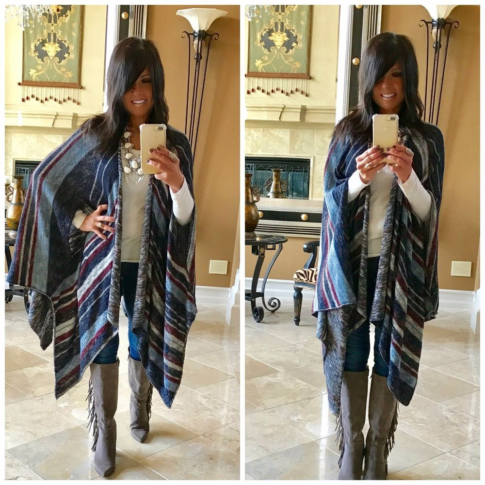 Women Long Draped Vintage American USA Flag Vest Kimono Cover Up RUANA Viscose