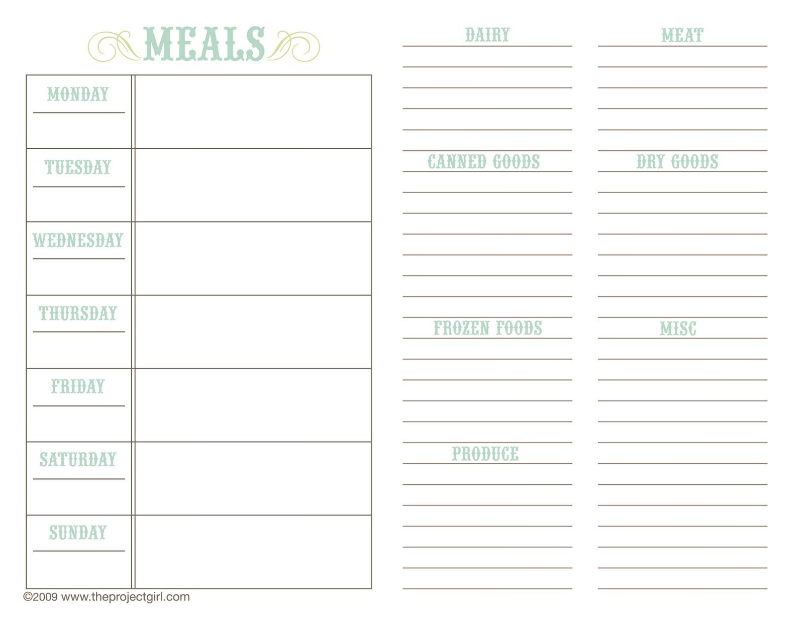 Free Family Recipe Templates | Above Templates Available For Download @ The  Project Girl. Meal Planning ...  Menu Planner Template Printable