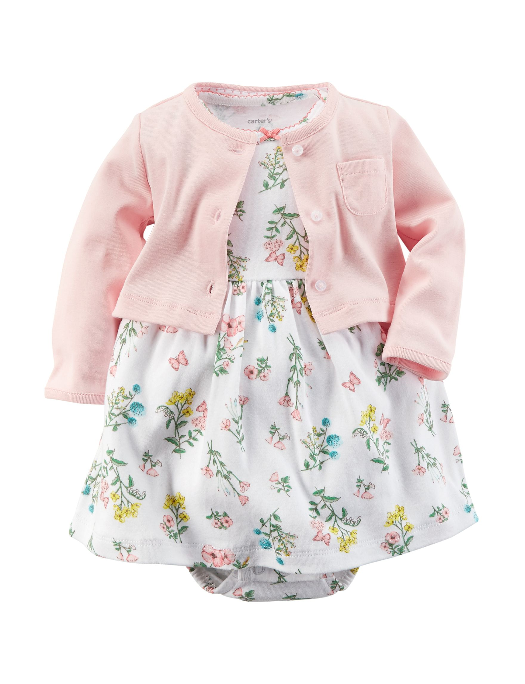 1806aa815 Carter s® 2-pc. Multicolor Floral Print Dress with Pink Cardigan Set ...