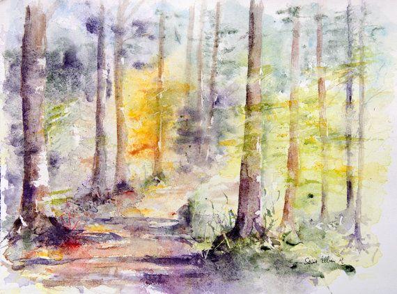 Aquarelle originale de sous-bois, arbres dans la forêt - peinture