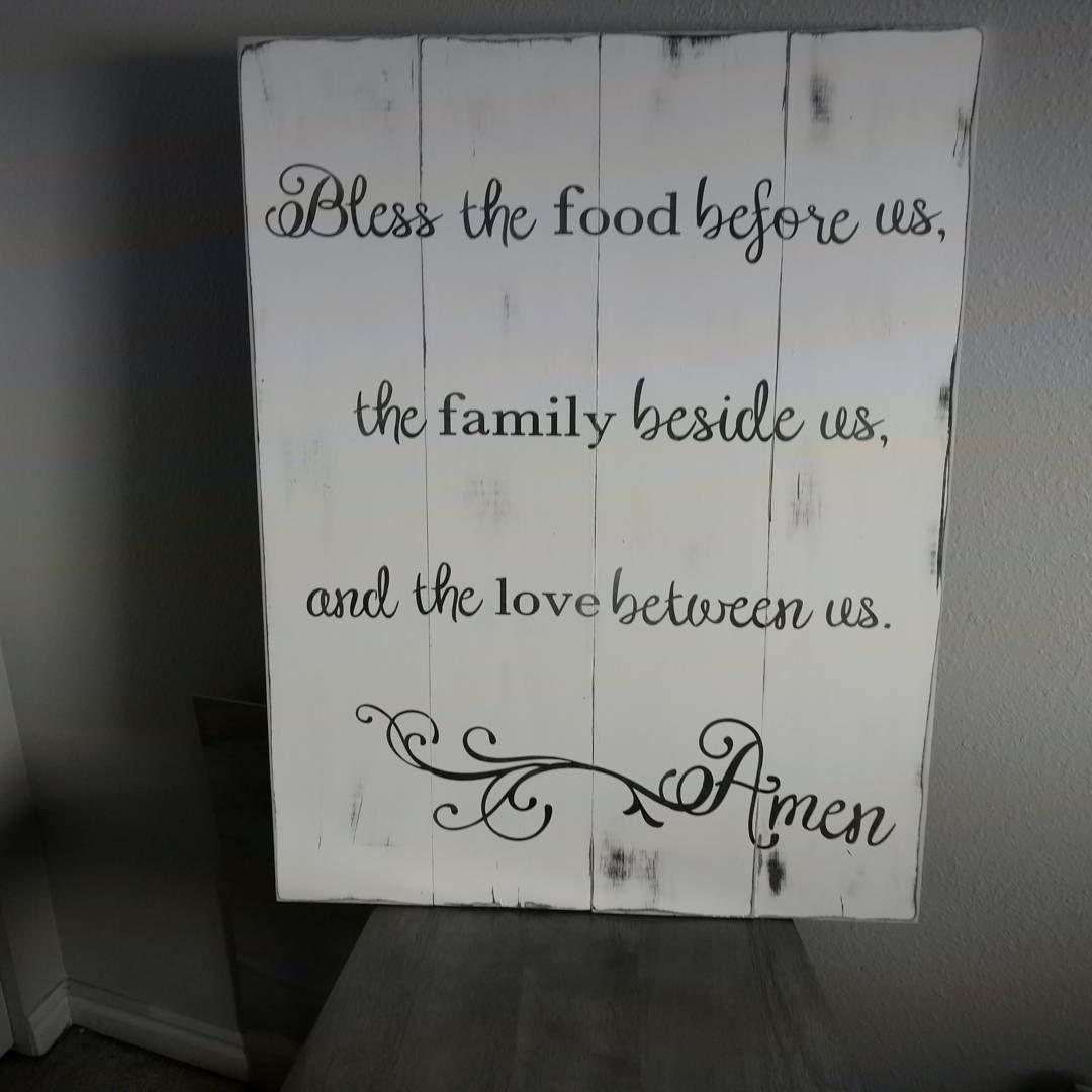 Bless the food before us... Large slated wood sign