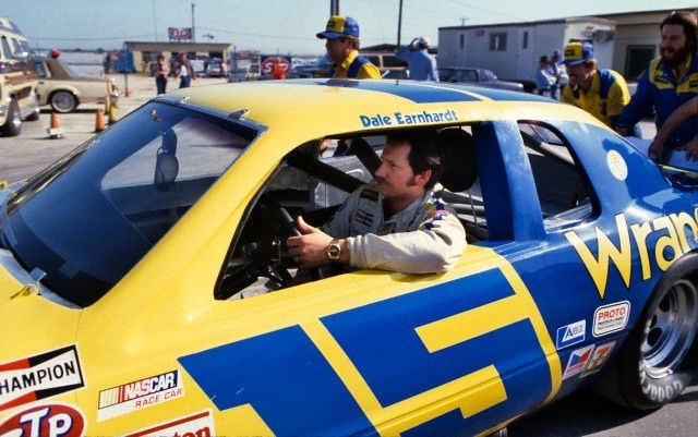 Dale Earnhardt driving Bud Moore's Ford Thunderbird sponsored by Wrangler Jeans