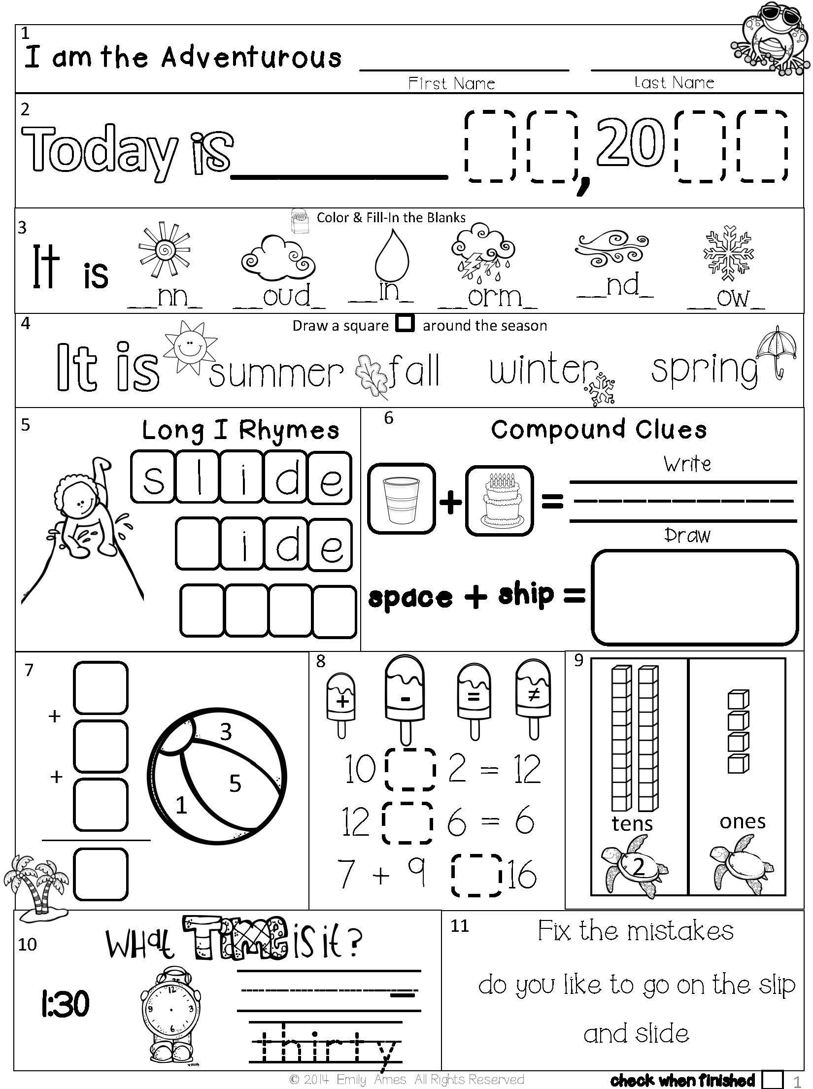 Summer Packet: First-Second Grade Morning Work   Morning work [ 2210 x 1650 Pixel ]