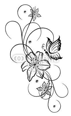 vector lilien lilie ranke blumen bl ten flora. Black Bedroom Furniture Sets. Home Design Ideas