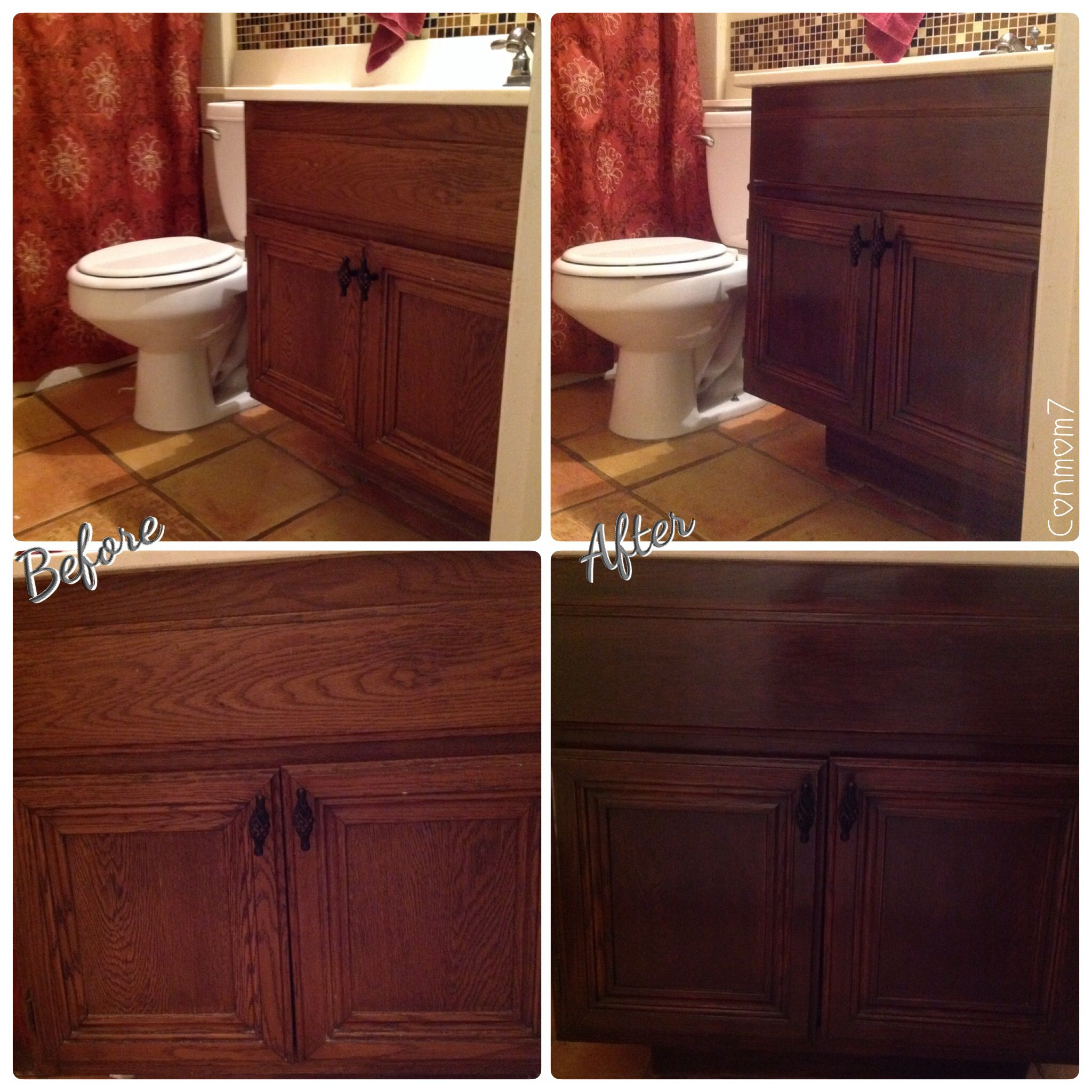 Superb img of Refinishing Bathroom Cabinets 1 Refinishing Pickled Oak Cabinets  with #692E20 color and 2048x2048 pixels