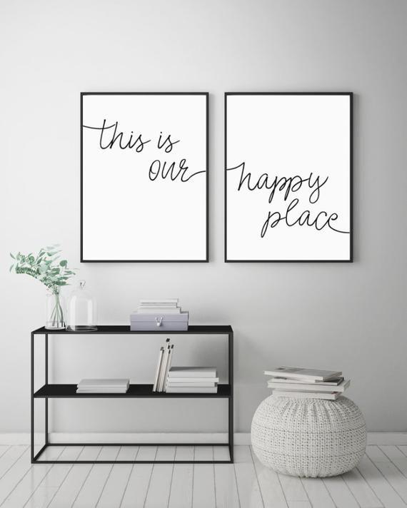 Dies ist unser Happy Place druckbare Zeichen Set, Inneneinrichtungen Drucke, über dem Bett Wandkunst, minimalistische Zeichen, sofortiger digitaler Download, 8 x 10 & 16 x 20