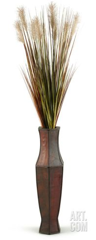 Tall Onion Grass Cream Plumes Floor Vase Home Accessories
