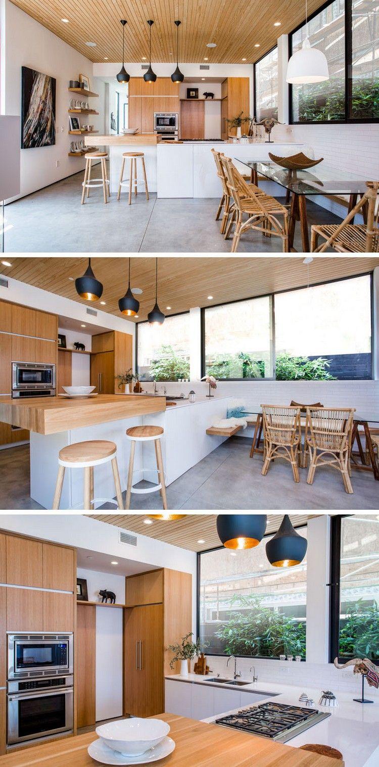 meubles scandinaves vintage en bois massif, cuisine moderne avec ...