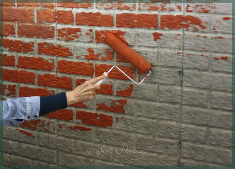 How To Paint Bricks On Textured Walls With A Roller And Brush Diy Painted Brick Painted Brick Walls Old Brick Wall