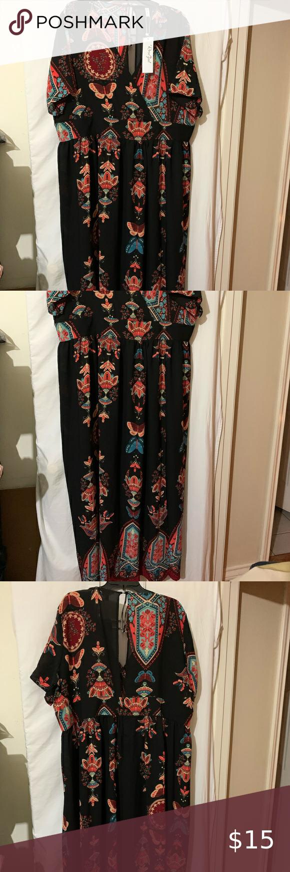 Rosegal Dress Maxi Size 5x Black Rosegal Maxi Dress Size 5x Beautiful Dress Black With Blue And Terra Cotta Colored Flowers Maxi Dress Clothes Design Dresses [ 1740 x 580 Pixel ]