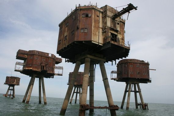 WHITSABLE, ENGLAND  MAUNSELL ARMY SEA FORTS  Surreal riveted sea forts once protected the Kent shores from German attack