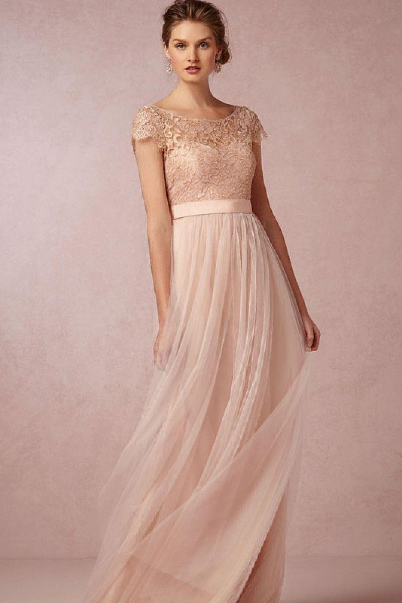 Classic A-Line Cap Sleeve Bateau Lace Pleated Zipper Tulle Floor-Length Bridesmaid Dresses - by OKDress UK