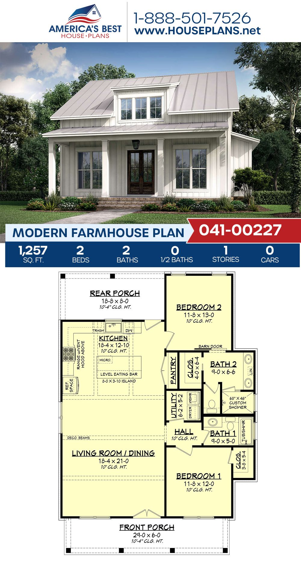 House Plan 041 00227 Modern Farmhouse Plan 1 257 Square Feet 2 Bedrooms 2 Bathrooms Guest House Plans House Plans Farmhouse Small Farmhouse Plans