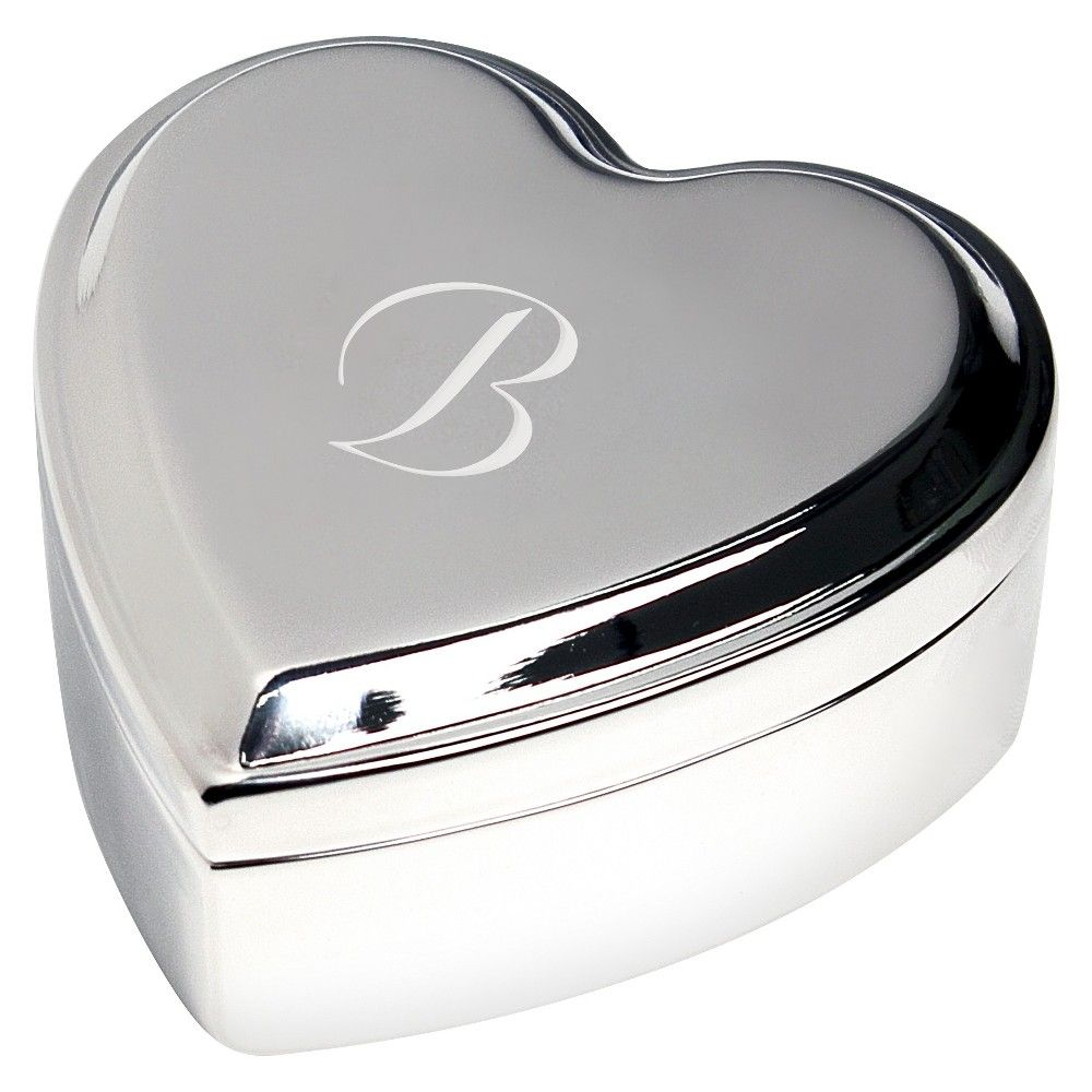 Monogram Heart Keepsake Jewelry Box - B, Silver