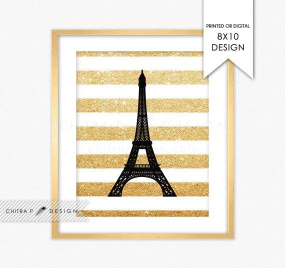 Paris Wall Art - Printed or Printable, Gold Glitter Black White ...