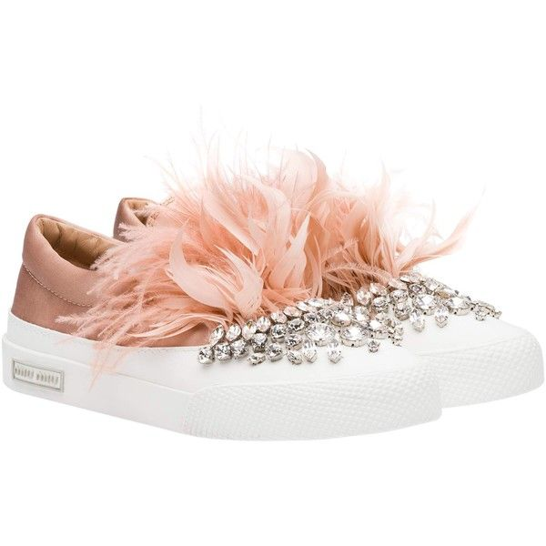 ef10c2e3e91bac Miu Miu SNEAKERS (€890) ❤ liked on Polyvore featuring shoes, sneakers, slip  on sneakers, miu miu, satin shoes, pull on sneakers and slip-on sneakers