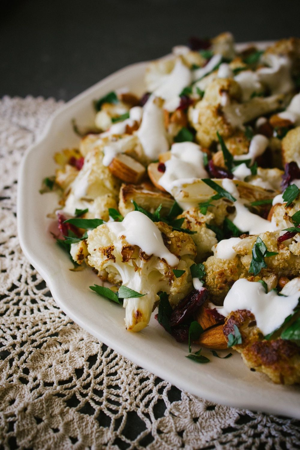 Roasted Cauliflower With Almonds, Cranberries and Yoghurt
