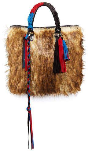 c387380ee1 Sacai Tassel Furry Crossbody Tote Bag