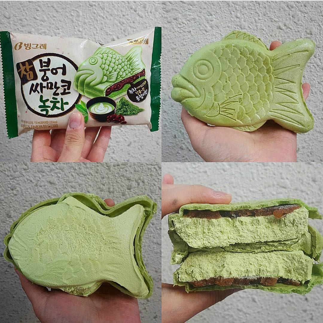 Fishy business Matcha Taiyaki w. red bean and ice cream
