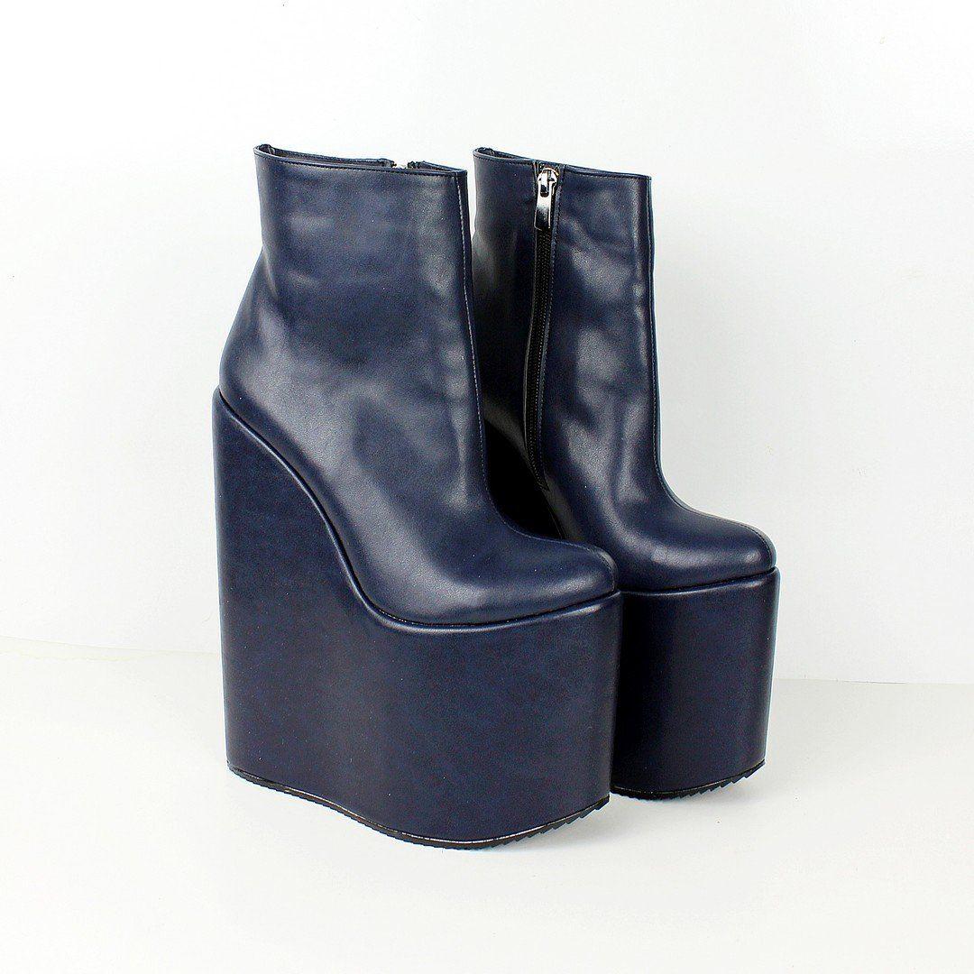 85f47f4e516a Dark Blue High Heel Wedge Booties – Tajna Club