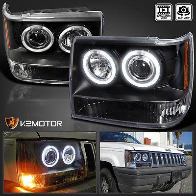 1993 1996 Jeep Grand Cherokee Halo Projector Headlights Black Pair Ebay Jeep Zj Jeep Grand Cherokee Jeep Grand