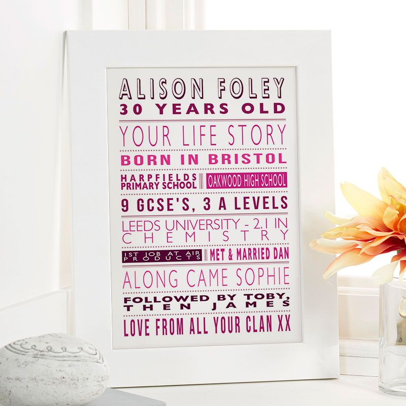 Personalised Life Story For Her 30th Birthday Gift