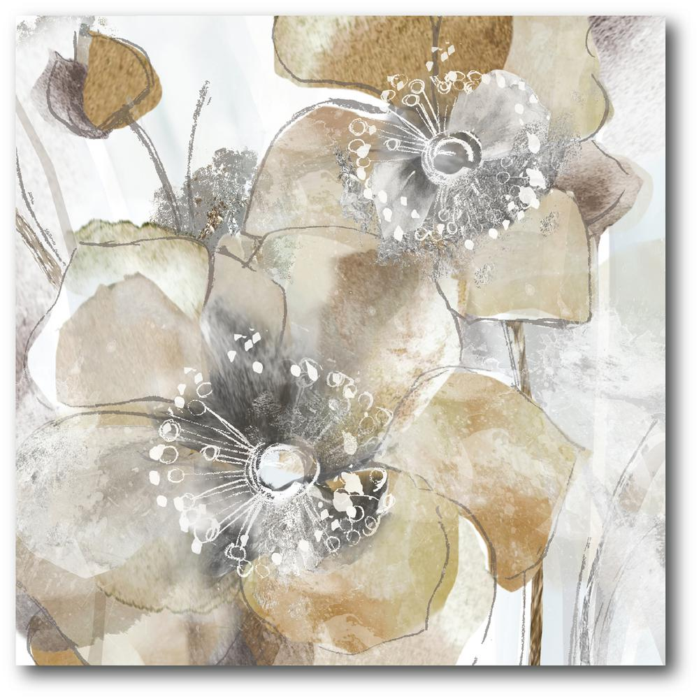 Courtside Market 30 In X 30 In Taupe Spring Poppy I Canvas Wall Art Beige Framed Flower Art Watercolor Poppies Canvas Giclee