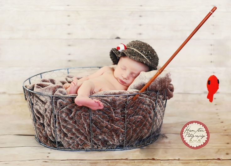 Newborn photography fisherman hat fishing pole baby infant photo ideas hampton