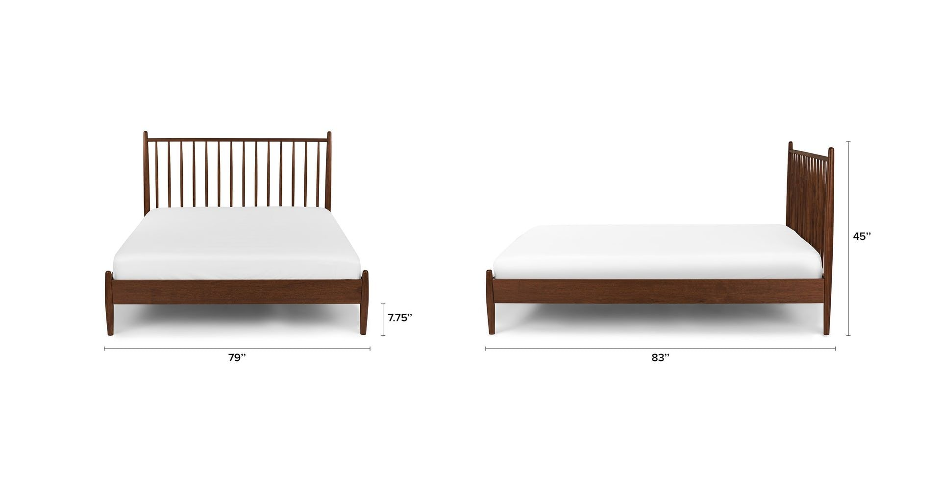 Lenia Walnut King Bed With Images Bed King Beds Modern Bed Frame
