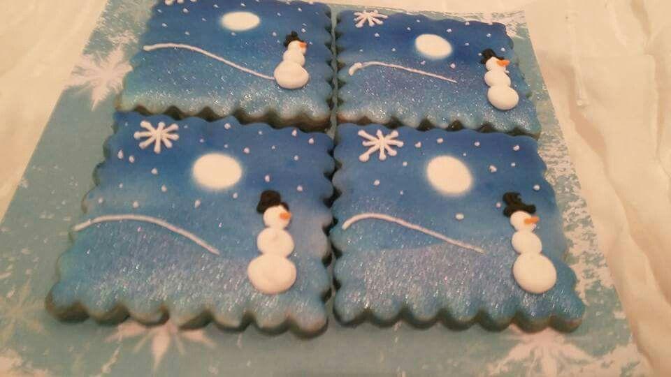 Sandra Williams:  Christmas.   Winter snow scene with a snowman.