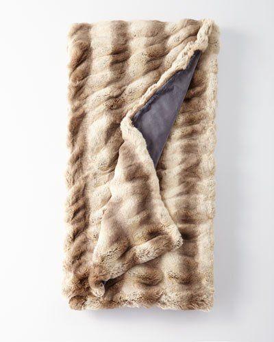 Faux-Fur Throw Blanket in Truffle Chinchilla  b50a354cd