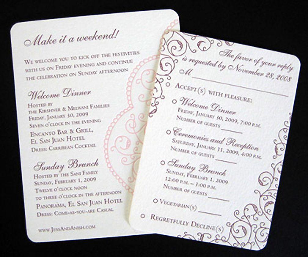 Multi Event Unique wedding invitations, Unique wedding