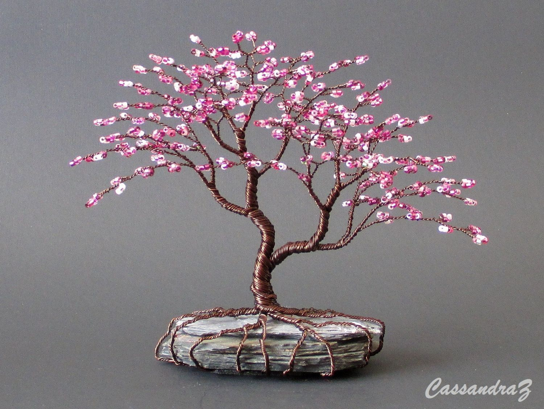 Asymmetrical Cherry Blossom Beaded Bonsai Mini Wire Tree Einrichten Hausdekoration Dekoration Hausdekor Schlafzimmer Drahtbaum Draht Handwerk Perlenblumen