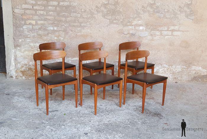 6 Chaises Vintage Scandinave Teck Johannes Andersen Chaise Vintage Chaise Teck Chaise