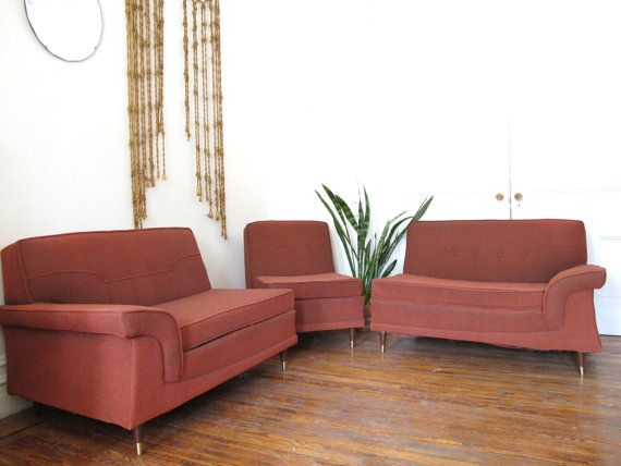 Mid Century Modern Kroehler Sectional Sofa / Vintage Modular Couch