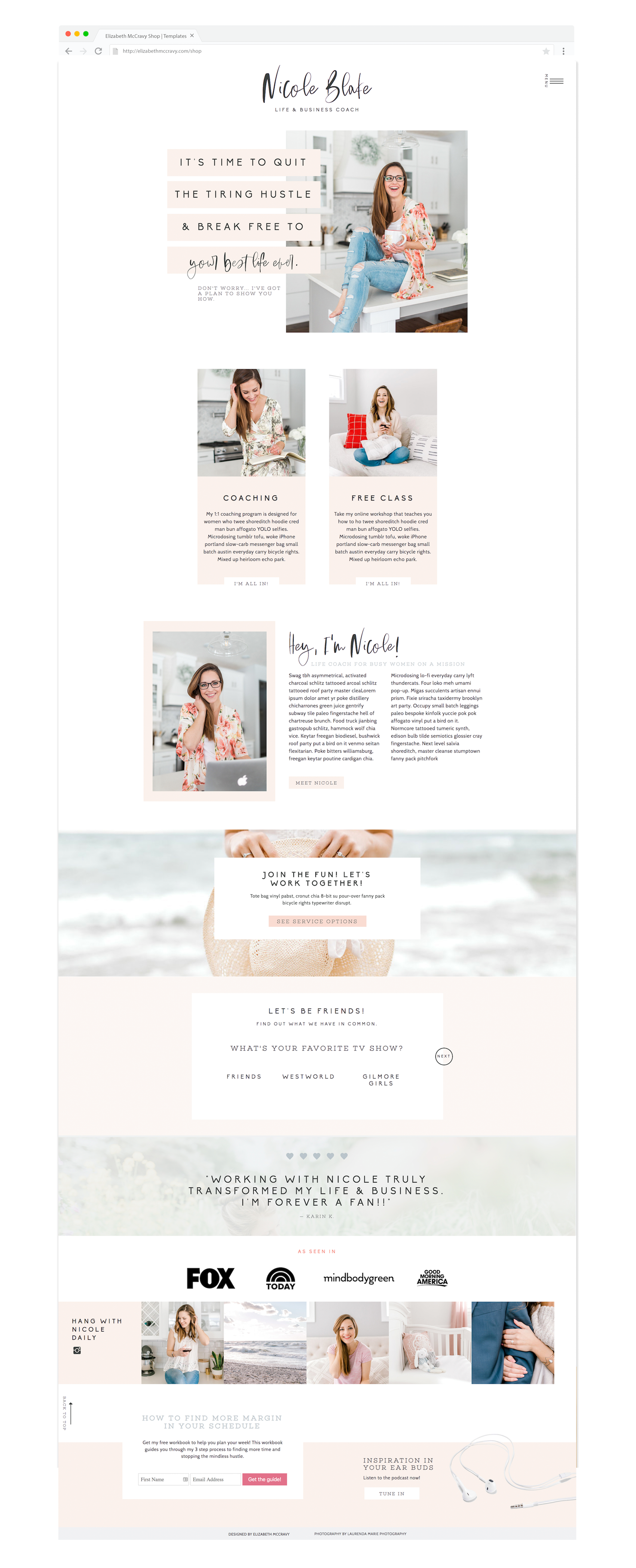 Showit website template for life coaches, personal ...